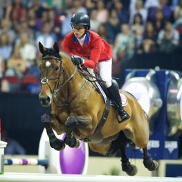 Beezie Madden, pictured here with Simon at the Longines FEI World Cup™ Jumping Final
