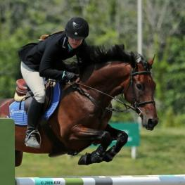 Bryn Sadler and Cezarro on their way to a $10,000 Brook Ledge Open Welcome Grand Prix win.