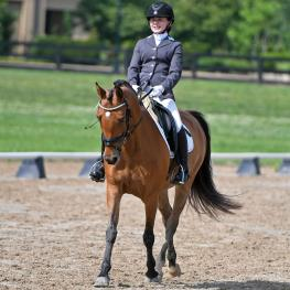 Caitlyn Massey was all smiles as she rode Zassafrass to take the lead in the Second Level 16 & under division on the first day of the National Dressage Pony Cup Championship Show.