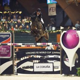 Colombia's Carlos Lopez galloped to victory with Admara in the seventh leg of the Longines FEI World Cup™ Jumping 2016/2017 Western European League at La Coruña in Spain.