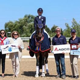 Catherine Chamberlain and Avesto van Weltevreden with USEF Managing Director of Dressage Hallye Griffin, Judge Lois Yukins, and USEF Dressage Youth Coaches George Williams and Charlotte Bredahl-Baker. Photo by Mary Adelaide Brakenridge.