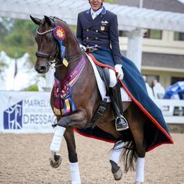 Custom Saddlery MVR Dr. Cesar Parra won the Developing Horse Grand Prix Dressage National Championship aboard Fashion Designer OLD