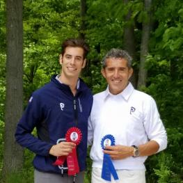 Performance Farms founder Dr. Cesar Parra (right) and Performance Farms rider Rodrigo Encinas Fuentes (left) celebrated a successful weekend competing at Centerline Events' HITS Dressage on the Hudson show in Saugerties, New York on May 20 and 21
