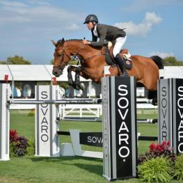 Daniel Bluman (ISR) and Bacara d'Archonfosse took the $40,000 SOVARO FEI Speed Stake at the Hampton Classic.