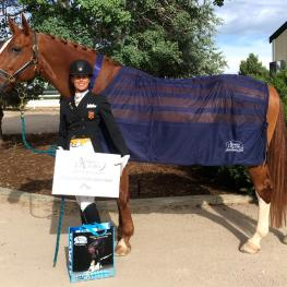 Tennyson-ISF, owned and ridden by Suzie Halle, won the Omega Alpha Healthy Horse Award at The Colorado Horse Park's Dressage in the Rockies I, II, & III show (Photo courtesy of the Colorado Horse Park)