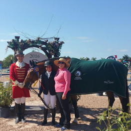 Elizabeth Favell and Hello won the Accuhorsemat sponsored Jumper division at Equestrian Sport Production Spring/Summer show series in Wellington, FL