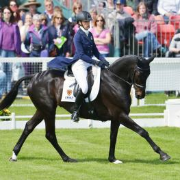 "Lying in second place after dressage was Great Britains Emily King riding ""Brookleigh"""