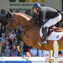 Eric Lamaze guided Chesney, owned by Artisan Farms, to victory in the $35,500 1.45m ATCO Cup at the CSI5* Spruce Meadows 'North American' tournament in Calgary, AB. (Photo: Spruce Meadows Media)