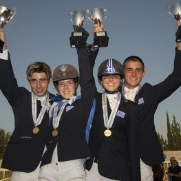 The newly-crowned Junior team gold medallists from Greece at the FEI Balkan Jumping Championships 2015 in Halkidiki, Sithonia, Greece last weekend. (L to R) Alexandros Kokkonis, Nikolina Makarona, Ioli Mytilineou and Konstantinos Papathanassiou. (Photo: FEI/Alexis Vassilopoulos)