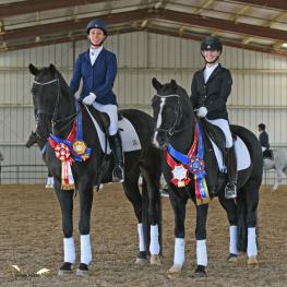 Melissa Rogers (L) and Kristine Hegglin (R) shared CDS Horse of the Year and Great American/USDF Region 7 Fourth Level Adult Amateur honors at the 50th Anniversary CDS Championship Show.