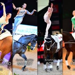L to R) Simone Jaïser (SUI), Anna Cavallaro (ITA), Anne Sophie Musset (FRA), Kristina Boe (GER), Isabel Fiala (AUT) and Nadja Buttiker (SUI) will all be chasing the Female title when the FEI World Cup™ Vaulting 2015/2016 Final gets underway in Dortmund (GER) on Thursday 3 March.