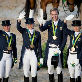 Team Germany, Werth Isabell, Schneider Dorothee, Rothenberger Sonke, Broring-Sprehe Kristina, GER Olympic Games Rio 2016