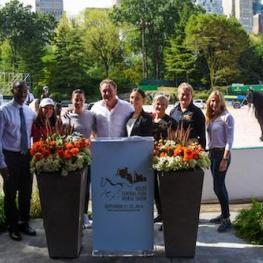 IEG's Mark Bellissimo (center) with (L to R): Police Athletic League Executive Director Frederick Watts, Jennifer Paldino of Mini Horse Heroes, Charlotte Dujardin, Georgina Bloomberg, Gallop NYC Executive Director Alicia Kershaw and Board Chair Suzy Marquard, and Katherine Bellissimo.