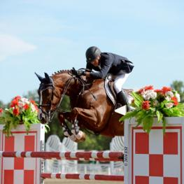 Harold Chopping and Basje on their way to $25,000 Brook Ledge Grand Prix win.