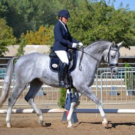 CDS Futurity Champions: Hilda Gurney & Lotta Silver (Trakehner, Silver Moon x Livadia by Impressionist) win the Open Five-Year-Old division with a combined two-test score of 72.827%