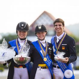 European Champion Individual 1. Sanneke Rothenberger and Deveraux OLD, 2. Florine Kienbaum and Doktor Schiwago 3, 3. Juan Matute Guidon and Don Diego Ymas European Championships Dressage U25 2016