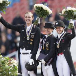 Germany's Sonke Rothenberger (silver) and Isabell Werth (gold), along with Denmark's Cathrine Dufour (bronze) on the podium for today's Dressage Grand Prix Special at the FEI European Championships 2017 in Gothenburg, Sweden.