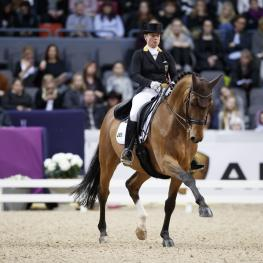 Germany's Isabell Werth strutted to her fifth victory in the FEI World Cup™ Dressage 2017 Western European League in Gothenburg, Sweden today riding Emilio