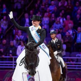 Isabell Werth (GER) celebrates victory with Weihegold Old