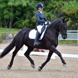 Janine Little and the Friesian mare Ebony, Fourth Level Test Three winners at Dressage at Devon with a score of 70.333%.