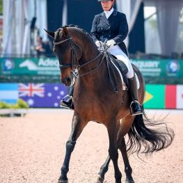 Jennifer Baumert (USA) and Handsome en route to capturing the Prix St Georges CDI3* with 70.441%.
