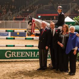 Jill Henselwood and Farfelu du Printemps are presented as the winners of the opening round of competition in the $100,000 Greenhawk Canadian Show Jumping Championship on Friday, November 6, at the Royal Horse Show® in Toronto, ON.
