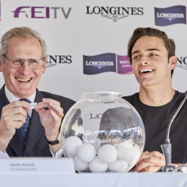 FEI Jumping Director John Roche and rider, model and social media influencer Mattia Harnacke at the draw for the Longines FEI Nations Cup™ Jumping Final 2017 in Barcelona (ESP) this evening.