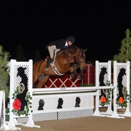 Kelley Farmer and Dalliance on their way to a $100,000 USHJA International Hunter Derby win at National Sunshine Series II in Thermal, CA.