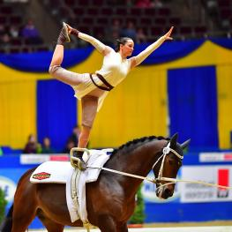 Germany's Kristina Boe secured her first FEI World Cup™ Vaulting title as Rey from Star Wars on Don de la Mar with lunger Winnie Schlüter (FEI/Daniel Kaiser)