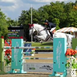 Laura Chapot and Thornhill Kate on their way to a $34,600 HITS Jumper Classic win.