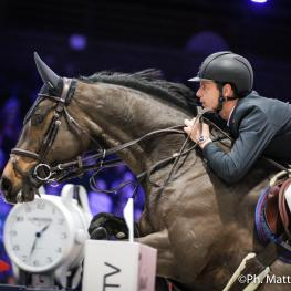 Leopold van Asten (FRA) riding VDL Groep Miss Untouchable during the MASTERS ONE SALON DU CHEVAL DE PARIS / CENECA, Longines Masters Paris at Paris Nord Villepinte on December 02nd, 2017 in Paris, France.