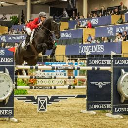 The United States' Jenni McAllister pilots Legis Touch The Sun to the top in the $132,000 Longines FEI World Cup™ Jumping Royal West. (FEI/Aimee Makris)
