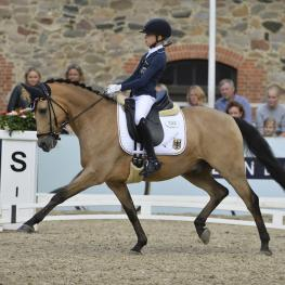 Germany's Lucie-Anouk Baumgürtel and Massimiliano 3, gold individual and freestyle dressage and part of the German gold medal winning team at the FEI European Championships for Ponies 2016 (FEI/Sanne Kolind)