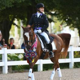Maddie Kanda and her Morgan/Holsteiner gelding B-Squared were one of many competitors celebrating their success on the second day of the 2018 National Dressage Pony Cup & Small Horse Championships.