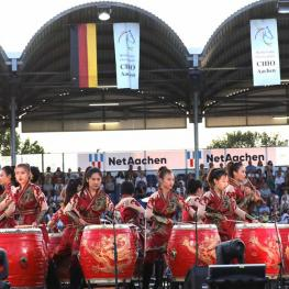 "The photo shows some of the performers of the ""Manao – Drums of China"" group during the Opening Ceremony at the CHIO Aachen 2018 Photo: CHIO Aachen/Andreas Steindl"