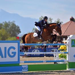 Mandy Porter and Milano on their way to a AIG $1 Million Grand Prix win.