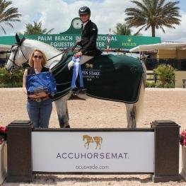 Mark Bluman and Thriller P win the Accuhorsemat $10,000 Open Welcome Stake at the Palm Beach International Equestrian Center