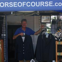 Marty Haist of The Horse of Course, Inc. displays the now open Men's Department at the Adequan Global Dressage Festival in Wellington, Florida
