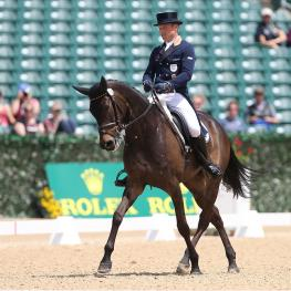 Michael Jung of Germany and Fischerrocana FST claimed a large lead during the first day of dressage at the Rolex Kentucky Three-Day Event, presented by Land Rover