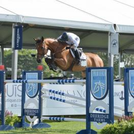 Molly Ashe-Cawley and Cassandra won the $10,000 Palm Beach Masters Open Jumper 1.45m class at the Hampton Classic. © Shawn McMillen