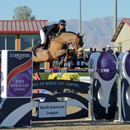 Nayel Nassar and Lordan on their way to a $100,000 Longines FEI World Cup - Jumping Thermal win.