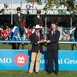 The winning team of Brazil (from left to right) Pedro Veniss, Eduardo Menezes, Rodrigo Pessoa and Felipe Amaral in their presentation with Chef d'Equipe Jean Maurice Bonneau and Frank Techar, Chief Operating Officer, BMO Financial Group (Photo: Spruce Meadows Media)
