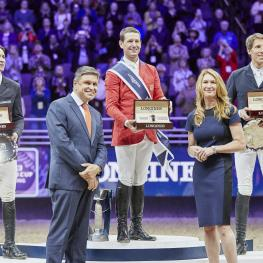 Podium Left to right Henrik von Eckermann,Juan Carlos Capelli; McLain Ward; Roman Duguet ; Steffi Graf
