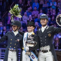 Isabell WERTH (GER) wins the The FEI World Cup™Dressage Final ll, Grand Prix Freestyle, April 1 2017. Laura Graves (USA) placed 2nd and Carl Hester finished 3rd.