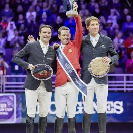 Podium Left to right: Henrik von Eckermann, McLain Ward,Roman Duguet