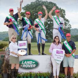 (From L to R): Winning U.S. Eventing Team; Boyd Martin, Phillip Dutton, Lauren Kieffer and Clark Montgomery on the podium with Helen McDonald and Deborah Sandford for Land Rover North America and U.S. Chef d'Equipe, David O'Connor