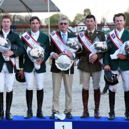 Winners Ireland,Alexander Butler,Mark McCauley,Chef d'Equipe Michael Blake,Captain Geoff Curran,and cameron Hanley.