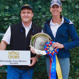 Triple Crown Florida Representative Craig Bernstein (left) awarded Shannon Dueck (right) with the Triple Crown Dressage Excellence Award at the Adequan Global Dressage Festival
