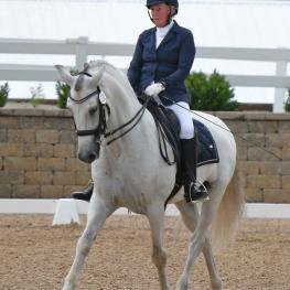 Patricia McVary of Springfield, Ill. and her PRE gelding Aureo won the Third Level Adult Amateur title for small horses at 2018 National Dressage Pony Cup & Small Horse Championships.  Photo by Jennifer M. Keeler.