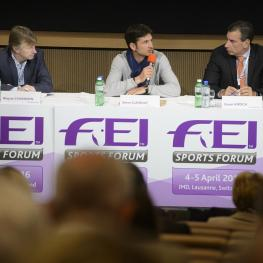 Olympic champion Steve Guerdat (SUI), centre, speaking on the panel during session three of the FEI Officials' appointment and remuneration at today's FEI Sports Forum in IMD, Lausanne, with Wayne Channon (GBR), rapporteur, and fellow panelist Cesar Hirsch (VEN).